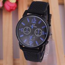 Relógio Masculino Preto E Azul Esportivo Bonito E Barato