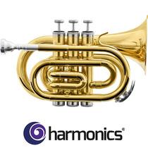 Trompete Pocket Laqueado Dourado Harmonics Novo Original
