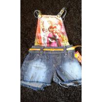 Macacão Jardineira Jeans Infantil Frozen Criança Elsa Menina