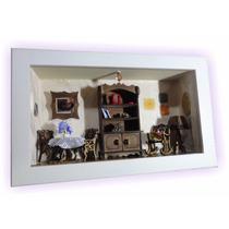 Quadro Miniaturas Cenário Sala Rústica C/ Espelho Artesanato