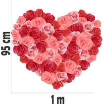 Adesivo Decoração Parede Amor Coração Rosas Floral Flor