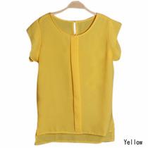 Blusa Chiffom Amarela Camiseta Ja Brasil Tam. M Plissado