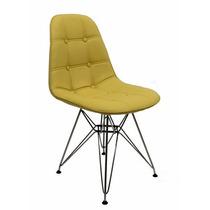 2 Cadeiras Estofada Botonê Couro Sintético Dkr Pés Aço Inox