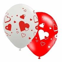 Balão Latex Bexiga Coração Vermelho - Pct 50 Balões