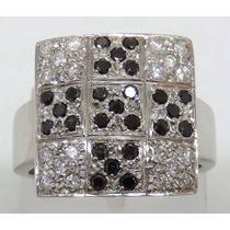 Pocao2005- Anel De Ouro Branco 18k 750 Diamantes