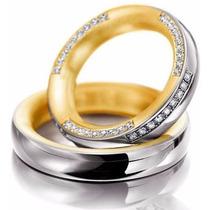 Par Alianças Ouro 18k 4mm 19gr 54 Diamantes 1pt Frete Grátis