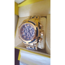 Relogio Invicta Bolt Zeus Skeleton Dourado Azul Promocional