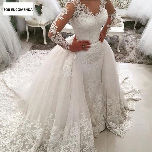 66503d6d039a Vestido Noiva Princesa Renda Manga Longa Cauda Destacável