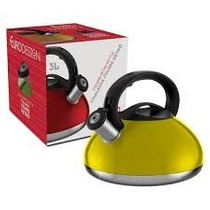 Chaleira Aço Inox Retrô Colors Amarela 3 Litros Euro Home