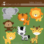 Kit Scrapbook Digital Animais Da Selva Imagens Clipart Cod14