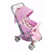 Carrinho De Bebê Tipo Berço Rosa Lilás 3 Posições Reversível