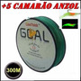 Linha Multifilamento 300 Metros + 5 Camarão Aroma Anzol