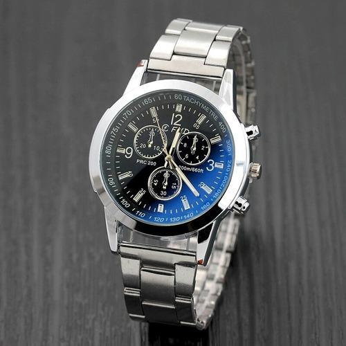 99f7d75916b Relógio Masculino Prata E Azul Com Pulseira De Metal