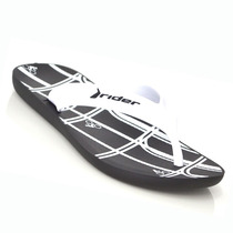 Sandália Masculina Rider 11074 N7 Preto Branco Elza Calçados
