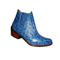 Bota Azul Country Couro Rodeio Feminina Masculina Unisex