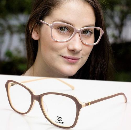 66bd3f41b12da Armação Oculos P  Grau Feminino Ch56 Acetato Importado - R  120 en ...