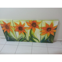 Quadro Pintura A Oleo Girassol Flores