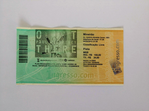 Ingresso Show Paul Mccartney Belo Horizonte 2013