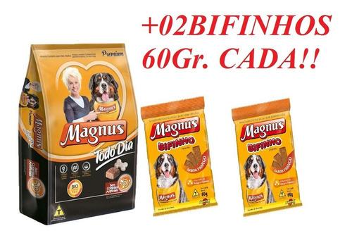Ração Magnus Todo Dia Premium 25kg + 02 Bifinhos 60gr Cada