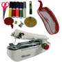 Kit Costura Mini Máquina Manual Linha Tesoura Agulha + Bolsa