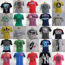 Kit C.10 Camisetas De Marcas Variadas Famosas Baratas