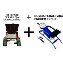 Kit Reparo De Pneu Cabo Alumínio + Bomba Pedal Carro E Moto