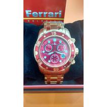Relógio Ferrari Lançamento Dourado Fundo Vermelho + Frete