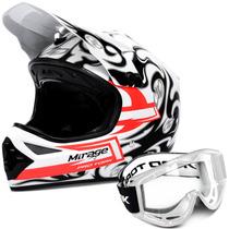 Capacete Mirage Pro Tork Cross Branco Trilha + Óculos Branco