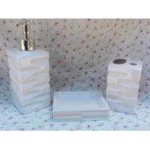 Jogo Banheiro Porcelana Branco - Kit Higiêne - Vintage-retrô