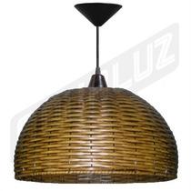 Luminária Pendente - Palha Artificial - Esférico 40cm
