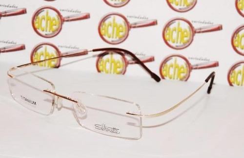Armação Oculos De Grau Silhouette Sem Aro Titanium Dourada fd7d0d2f94