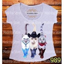 Blusa Tshirt Feminina Gatos Botas Cat Chapéu Felinos Flamê