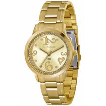 Relógio Lince Dourado Feminino (orient) Lrg4274l Prova Dágua