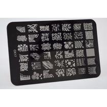 Placa De Inox Nail Decalque Para Unha 42 Desenhos + Carimbo