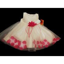 Vestido Infantil Festa Bebê/daminha Flores Na Barra