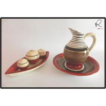 Cerâmica Esmaltada - Aparador Com Bolas E Jarra Com Bacia