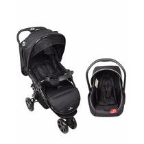 Carrinho De Bebê Dardara Preto Com Bebê Conforto