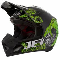 Capacete Motocross Th1 Jett Veneno Preto / Verde - 60