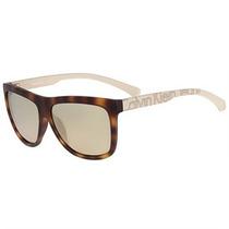 Óculos De Sol Calvin Klein Jeans Tartaruga Haste Creme