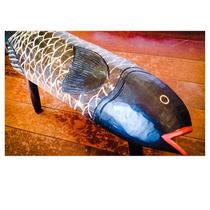 Banco Em Madeira Rústica Maciça - Peixe