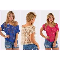 Blusa Cropped De Renda Croche Moda Blogueiras, Varias Cores,