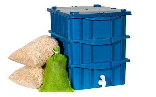 Composteira Doméstica 45 Litros Azul - 3 Caixas De 15 Litros
