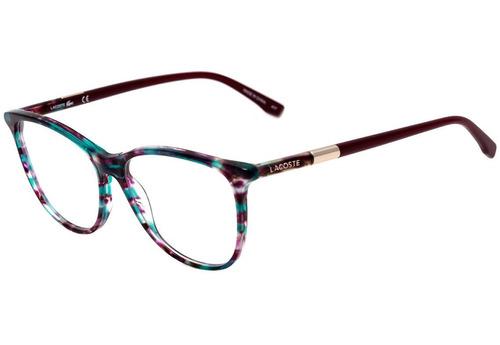 a8c9f8d33218f Lacoste L 2822 - Óculos De Grau 444 Vinho Mesclado Brilho