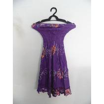 Vestido Roxo Estampado Tomara-que-caia Cód. 1051