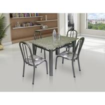 Conjunto De Mesa Movita Tampo Em Granito E 4 Cadeiras Preto