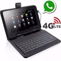 Tablet Tela 7 Gps 4g Celular 2 Chips + Capa Teclado 7435g