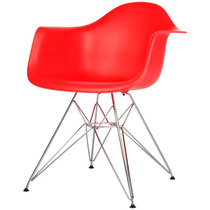 Cadeira Eames Dar Base Em Aço Inox Vermelha - Bbd318