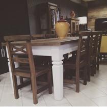 Mesa Jantar Retangular Branca Madeira Demolição 6 Lugares