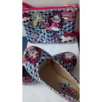 Sapatilha Infantil Monster High Fem+ Bolsa Calça.sapato Cria