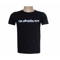 Camiseta Quiksilver Preta Masc. Malha Penteada